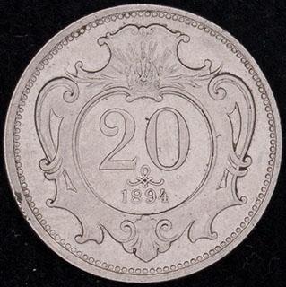 Австрия. 20 геллеров 1894 г. Никель