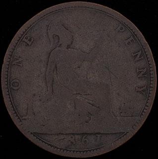 Великобритания. 1 пенни 1861 г. Медь