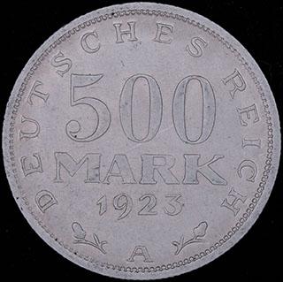 Германия. 500 марок 1923 г. Алюминий