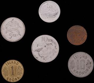 Исландия. Лот из монет 1974-2011 гг. 6 шт.