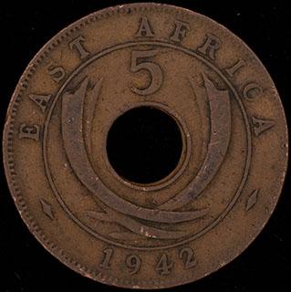 Британская Восточная Африка. 5 центов 1942 г. SA. Медь