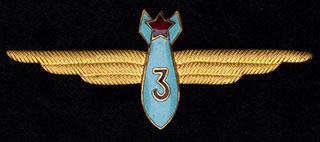 Знак 3 класса штурманского состава ВВС СССР. Бронза, позолота, эмаль. Оригинальная закрутка
