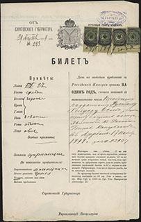 Билет на свободное пребывание в Российской империи сроком на 1 год