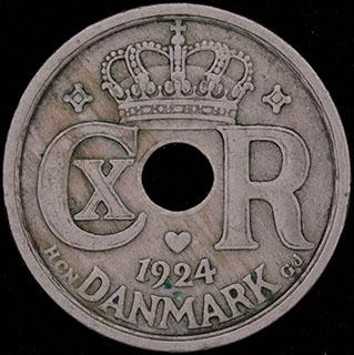 Дания. 25 эре 1924 г. Медно-никелевый сплав