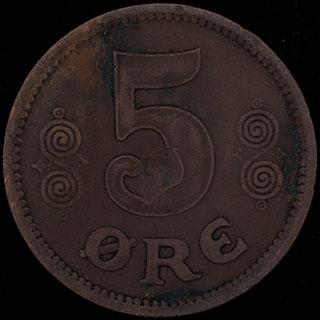 Дания. 5 эре 1917 г. Медь