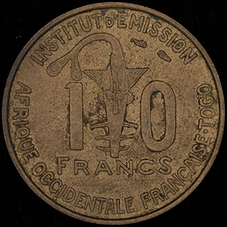 Французская Западная Африка. 10 франков 1957 г. Медно-алюминиевый сплав