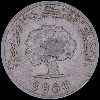 Тунис. 5 миллимов 1960 г. Алюминий