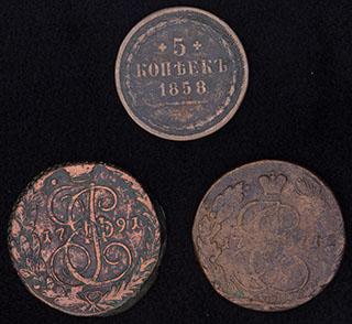Лот из 5 копеек 1771-1858 гг. 3 шт.
