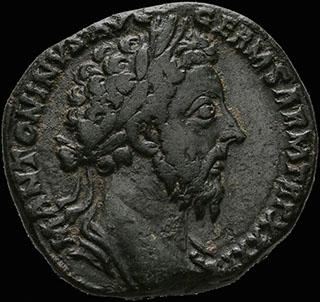Римская империя. Марк Аврелий. Сестерций 176-177 гг. RIC 1202 (as). Бронза