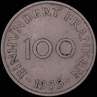 Саар. 100 франков 1955 г. Медно-никелевый сплав