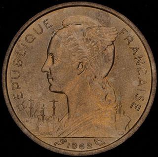 Реюньон. 10 франков 1962 г. Алюминиевая бронза