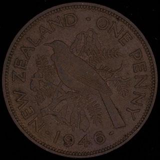 Новая Зеландия. 1 пенни 1946 г. Бронза