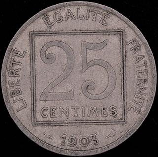 Франция. 25 сантимов 1903 г. Никель