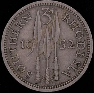 Южная Родезия. 3 пенса 1952 г. Медно-никелевый сплав