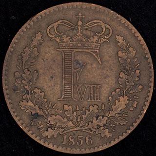 Дания. 1 скиллинг-ригсмёнт 1856 г. Медь