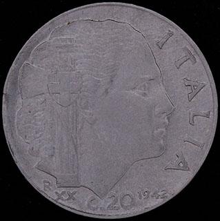 Италия. 20 чентезимо 1942 г. Рубчатый гурт. Нержавеющая сталь