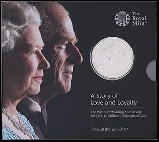 Великобритания. 5 фунтов 2017 г. «70 лет свадьбе Королевы Елизаветы II и Принца Филиппа». Медно-никелевый сплав. В оригинальной упаковке