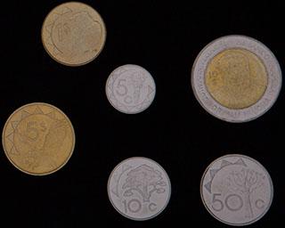 Намибия. Лот из монет 1993-2010 гг. 6 шт.