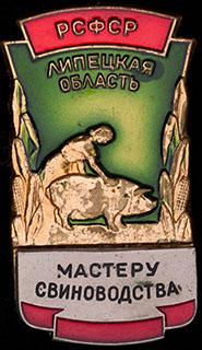 «Мастеру свиноводства. Липецкая область».Латунь, позолота, серебрение, эмаль