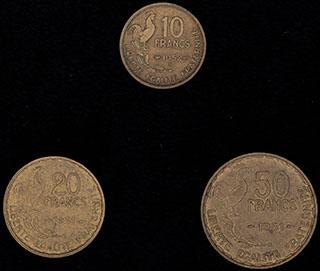 Франция. Лот из монет 1951-1952 гг. 3 шт.