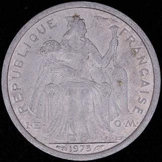 Французская Полинезия. 1 франк 1975 г. Алюминий