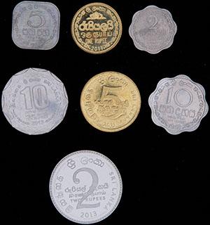 Шри-Ланка. Лот из монет 1978-2013 гг. 7 шт.
