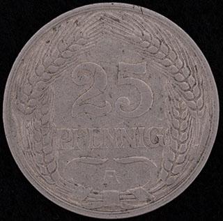 Германия. 25 пфеннигов 1911 г. Никель