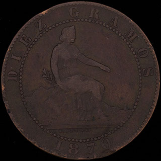 Испания. 10 сентимо 1870 г. Медь