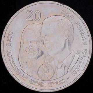 Австралия. 20 центов 2011 г. «Свадьба Принца Уильяма и Кэтрин Миддлтон». Медно-никелевый сплав