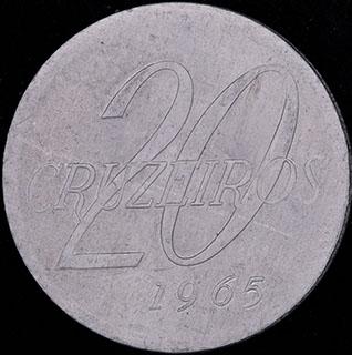 Бразилия. 20 крузейро 1965 г. Алюминий