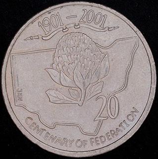 Австралия. 20 центов 2001 г. «Новый Южный Уэльс». Медно-никелевый сплав