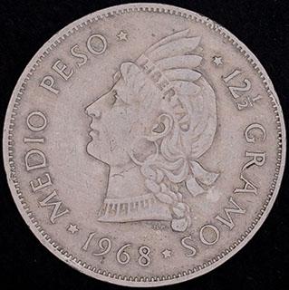 Доминикана. 1/2 песо 1968 г. Медно-никелевый сплав