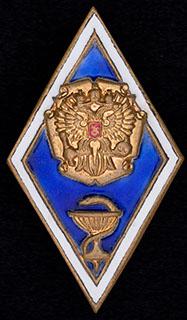 Знак об окончании медицинского вуза. Латунь, позолота, эмаль. Оригинальная закрутка