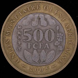 Западная Африка. 500 франков 2005 г. Медно-никелевый сплав, медно-алюминиево-никелевый сплав