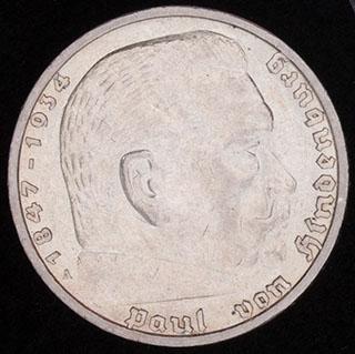Германия. 5 рейхсмарок 1938 г. Серебро