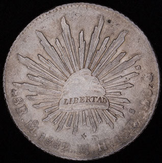 Мексика. 8 реалов 1882 г. Серебро. Надчекан