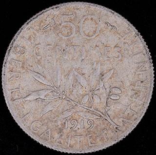 Франция. 50 сантимов 1919 г. Серебро