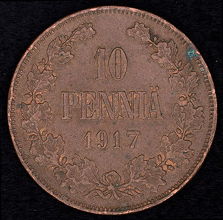 10 пенни 1917 г. Медь