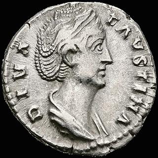Римская империя. Фаустина Старшая, жена Антонина Пия. Денарий 140-141 гг. Посмертная чеканка. RIC 351. Серебро