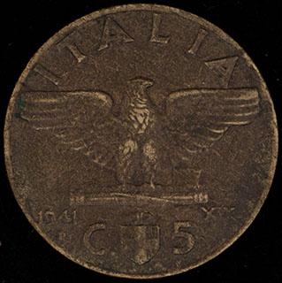 Италия. 5 чентезимо 1941 г. Алюминиевая бронза