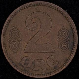 Дания. 2 эре 1921 г. Медь