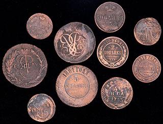 Лот из монет 1753-1913 гг. 10 шт.