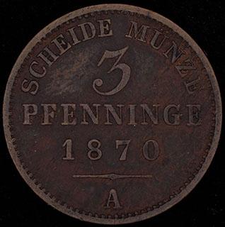 Пруссия. 3 пфеннига 1870 г. А. Медь