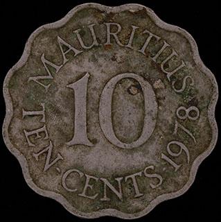 Маврикий. 10 центов 1978 г. Медно-никелевый сплав