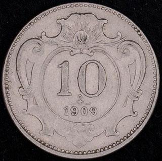 Австрия. 10 геллеров 1909 г. Никель