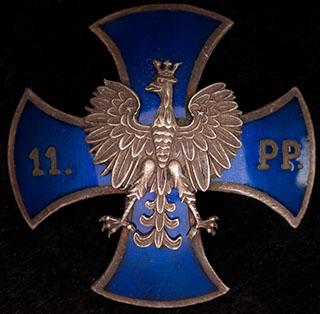 Польша. Знак 11-го пехотного полка. II половина ХХ в. Бронза, серебрение, эмаль. Оригинальная закрутка утрачена