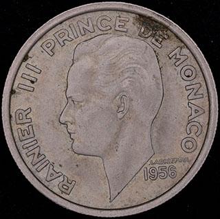 Монако. 100 франков 1956 г. Медно-никелевый сплав