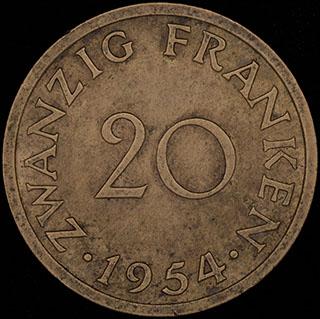 Саар. 20 франков. 1954 г. Алюминиевая бронза