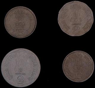 Индия. Лот из монет 1982-2001 гг. 4 шт.