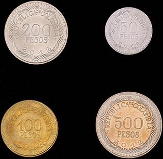 Колумбия. Лот из монет 2012 г. 4 шт.